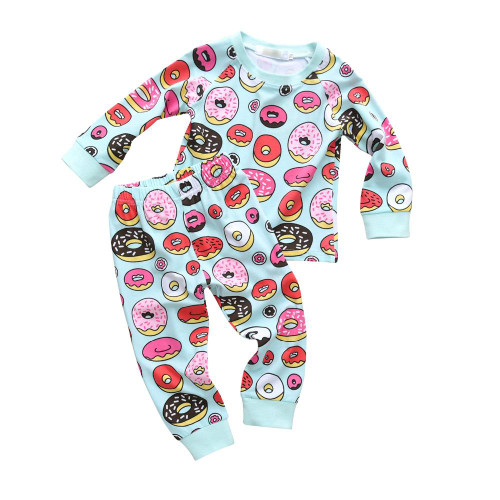 2Pcs Toddler Kids Boys Girls Donut Print Baby Clothes Set Long Sleeve T-shirt Casual Pants Outfits Set Children Clothing Suit - Joelinks store