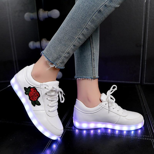 KRIATIV lighted children shoes luminous sneakers girls led lighted shoes boys luminous sneaker Floral Charged pu led shoe - Joelinks store