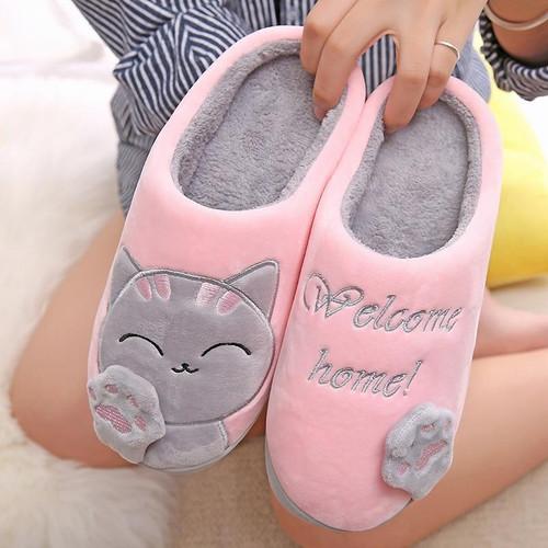 Women's  Winter Home Slippers Cartoon Cat Shoes Soft Winter Warm House Slippers Indoor - Joelinks store