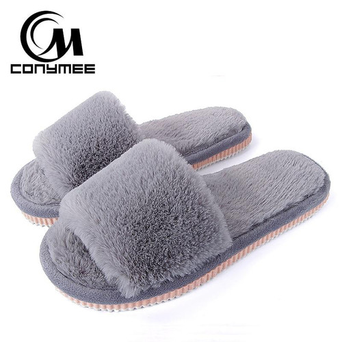 Womens Fur Slippers Winter Shoes Big Size Home Slipper Plush Pantufa Women Indoor Warm Fluffy Terlik Cotton Shoe - Joelinks store