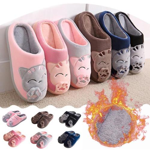 Women Winter Home Slippers Cartoon Cat Non-slip Warm Indoors Bedroom Floor Shoes Plush Slippers Women Faux Fur Slides Flip Flops - Joelinks store