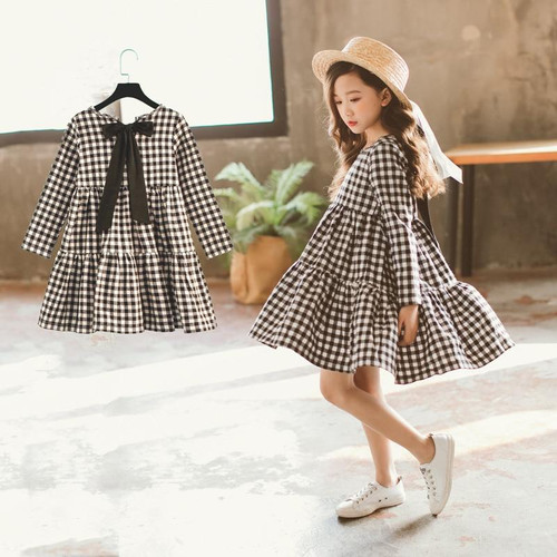 Spring New Girls Dresses Children Cotton Dress Kids Plaid Dress Bow Brand Baby Girls' Cotton Dress Toddler Clothes,#2787 - Joelinks store