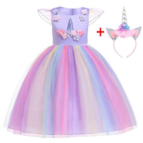 Brithday Dress Fancy Girls Christmas Dress Unicorn Party Flower Girl Dress Elegant Cinderella Costumes Summer Dresses for girl - Joelinks store