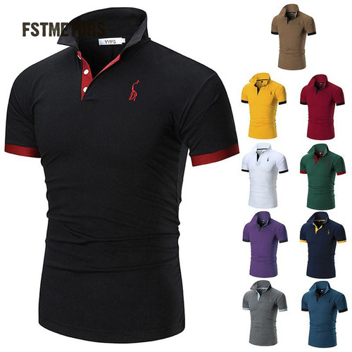 2018 FSTMETORS Mens Polo Shirt Brands Male Short Sleeve Casual Slim Solid Color Deer Embroidery Polo shirt - Joelinks store
