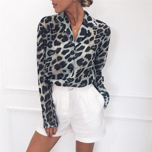 Chiffon Blouse Long Sleeve Sexy Leopard Print Blouse Turn Down Collar Lady Office Shirt Tunic Casual Loose Tops Plus Size Blusas - Joelinks store