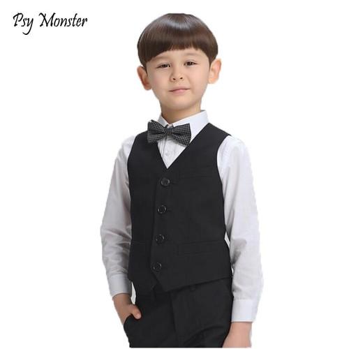 Boys Birthday Dress Prince Formal Vest Brand England Style Gentle Boys Wedding Waistcoat Kids Party Performance Vest for Boy F31 - Joelinks store