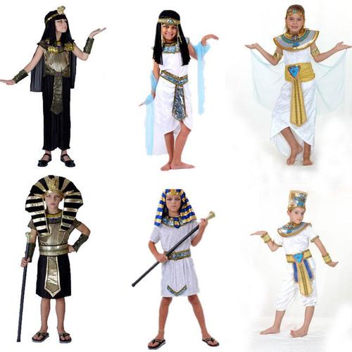 Children Boy Girl Ancient Egypt Egyptian Pharaoh Prince Princess Costume Kids Cosplay Clothing Greece Purim Halloween - Joelinks store