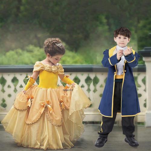 Kids Boys Beauty and The Beast Costume Child Book Week Prince Cosplay Fancy Dress Girls Princess Belle - Joelinks store