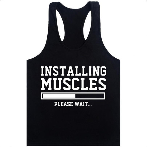 Tank Top Men Sleeveless Shirt Bodybuilding Stringer Fitness Men's Cotton Singlets Muscle Clothes Workout Vest - Joelinks store