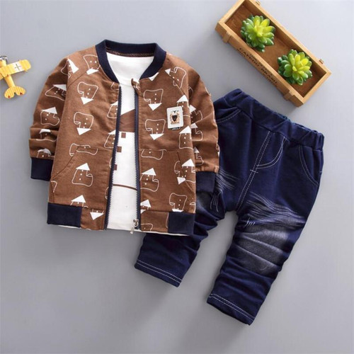 BibiCola Spring Autumn Children Boys Clothing Sets Cotton Kid Boys Clothes Sets 3Pcs Coat + Shirt + Pants Toddler Clothes Suit - Joelinks store
