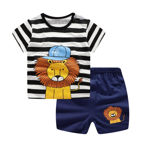 Baby Boys Clothes Sets Spring Summer Fashion Leisure Lion T-shirt + Navy Shorts Newborn Baby Girl Clothes Kids Bebes Suit - Joelinks store