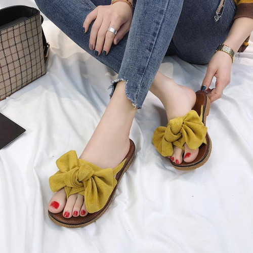 Summer Hot Sale Women Flip Flops Fashion Solid Color Bow tie Flat Heel Sandals Size 36-40 Outdoor Slipper Beach Shoes For Female - Joelinks store