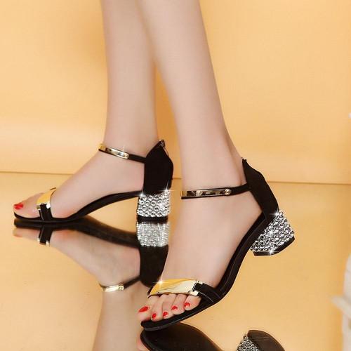 Luxury crystal Summer Women Sandals Open Toe Shoes Flicker Square Heel Shoes Gladiator Shoes #XTN - Joelinks store