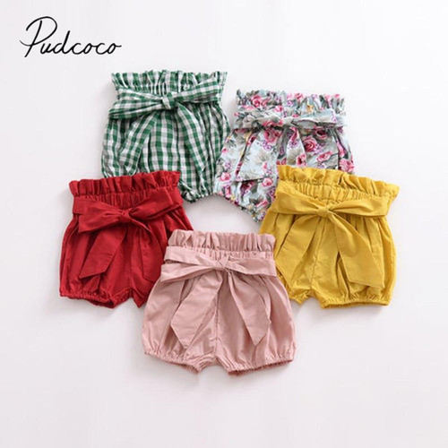 Brand New Toddler Baby Girls Boys Summer Casual Shorts Elastic High Waist Solid Plaid Floral Print PP Pants Outfit 1-6Y - Joelinks store