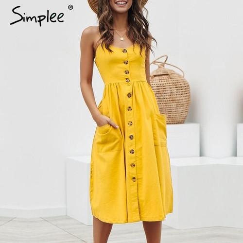 Simplee Elegant button women dress Pocket polka dots yellow cotton midi dress Summer casual female plus size lady beach vestidos - Joelinks store