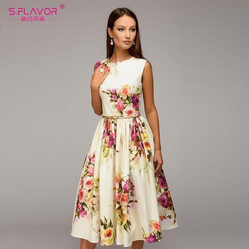 S.FLAVOR Lady party dress Hot sale Spring Summer women sleeveless flowers printing vestidos Elegant casual A-line dress No Belt - Joelinks store