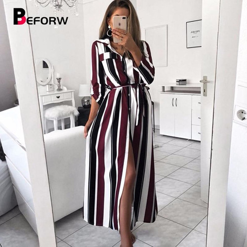BEFORW Office Lady Turn-Down Collar Button Lace Up Long Shirt Dress Women Autumn Winter Long Sleeve Stripe Maxi Dresses - Joelinks store