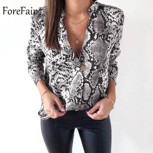 Forefair Snake Animal Print Blouse and Shirt Long Sleeve Casual Plus Size V Neck Serpentine Fashion Women Blouses Autumn 2018 - Joelinks store