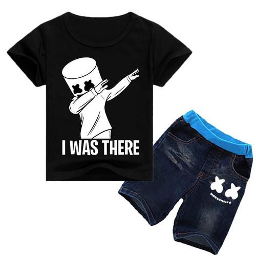 Marshmellow DJ Music Print marshmello dj T shirt 2pcs boys girls tops t shirt clothing big kids black shirts clothes - Joelinks store