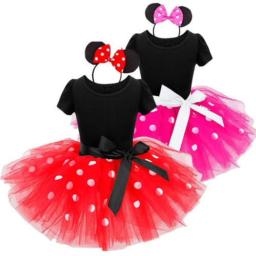 Girls Mini Mouse Costume Tutu Dress Ballet Princess Dresses Polka Dot Birthday Outfits Headband Kids Summer Clothes Vestidos - Joelinks store