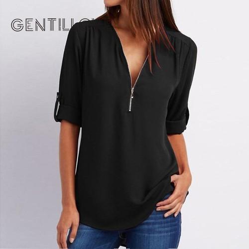 Women Sexy Blouse Shirts Zipper V Neck Tops and Blouse Plus Size Female Clothes Casual Tee Shirts Oversized 5XL roupa feminina - Joelinks store