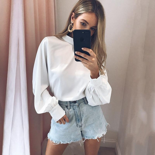 Office Lady Puff Full Sleeve Chiffon Blouse Top New Spring Women Casual White Blouse Skirt Female Blouses Clothing - Joelinks store