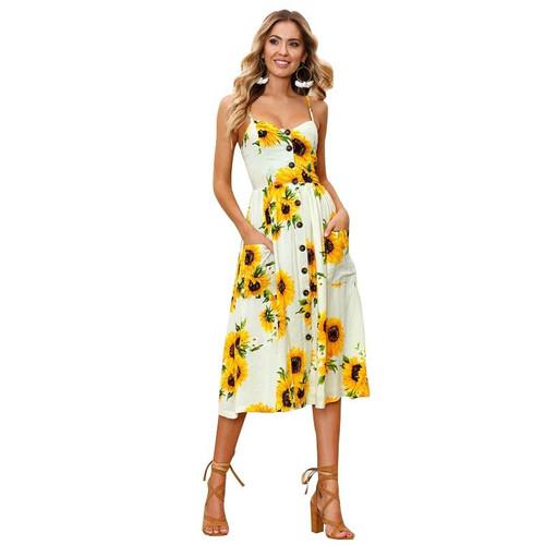 Sexy Dress Casual Women Summer Dresses Boho Vintage Midi Button Backless Polka Dot Striped Floral Beach Dress Female Clothing #F - Joelinks store
