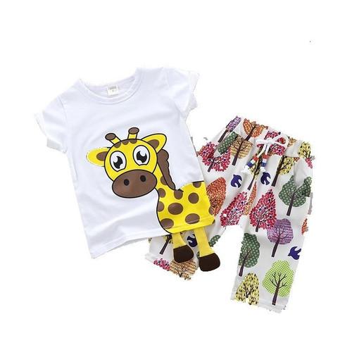 Cool Summer Children Baby Cotton Clothes Cartoon Giraffe T-Shirt Shorts 2pcs/Sets Child Toddler Boys Girls Clothing Tracksuits - Joelinks store