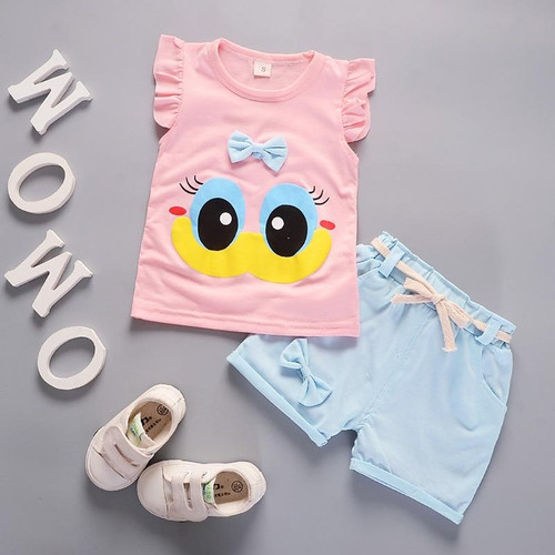 Summer Cute Cartoon 2PCS Kids Baby Girls Floral T-shirt Top Shorts Pants Set Clothes Girls Clothing Sets - Joelinks store
