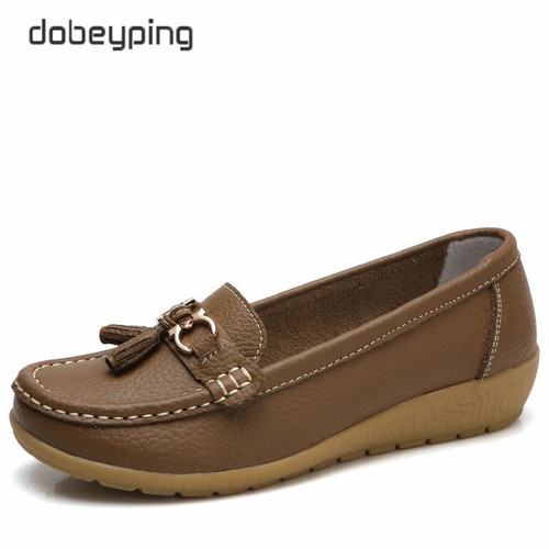 dobeyping 2019 New Arrival Shoes Woman Genuine Leather Women Flats Slip On Women's Loafers Female Moccasins Shoe Plus Size 35-44 - Joelinks store
