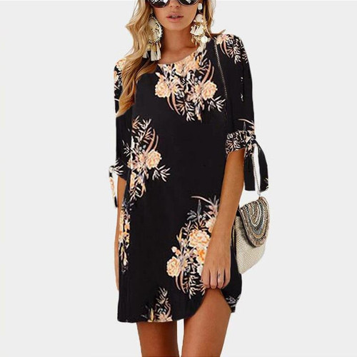 2019 Women Summer Dress Boho Style Floral Print Chiffon Beach Dress Tunic Sundress Loose Mini Party Dress Vestidos Plus Size 5XL - Joelinks store