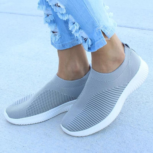 Plus Size Shoes Women Casual Knitting Sock Sneakers Stretch Flat Ladies Slip On Shoes Female Leisure Flats Fashion Espadrilles - Joelinks store