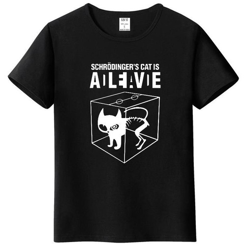 Top Quality cotton Schrodinger's Cat print short sleeve men T shirt casual The Big Bang Theory mens Tshirt 2018 T01 - Joelinks store
