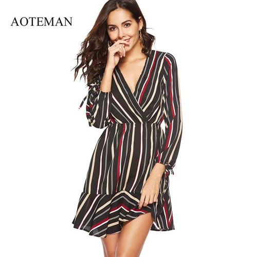 AOTEMAN Sexy Summer Dress Women New Casual V-neck Striped Ladies Dresses Elegant Vintage Beach Party Dress Vestidos Verano - Joelinks store