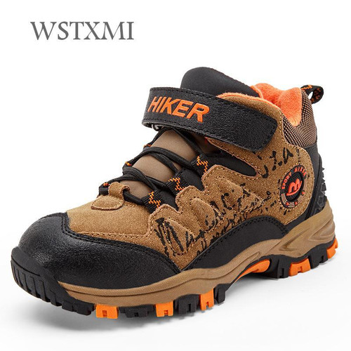 Winter Snow Kids Hiking Shoes Boys Girls Outdoor Sneakers for Children Leather Waterproof Rubber Sole Non-slip Warm Sports Shoes - Joelinks store