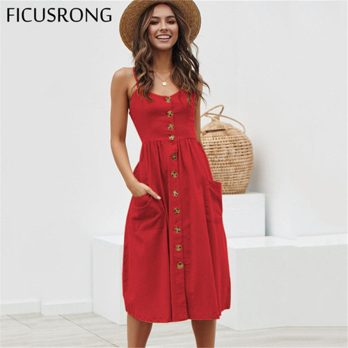 Elegant Button Women Dress Polka Dots Red Cotton Midi Dress 2019 Summer Casual Female Plus Size Lady Beach vestidos FICUSRONG - Joelinks store