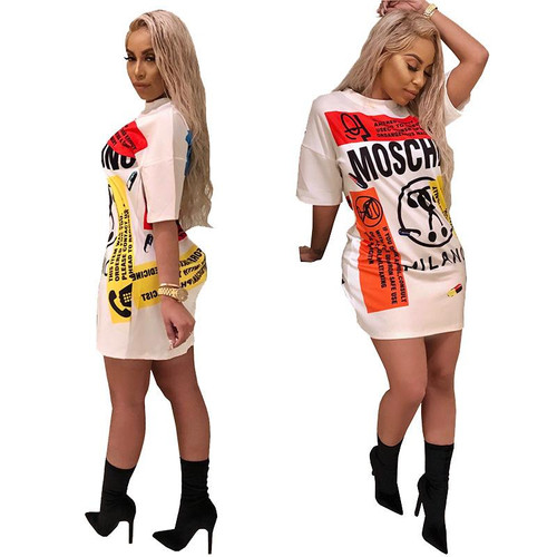 BONJEAN Fashion Sexy Print Dress Summer Lady Letters Doodle Casual Loose Mini Dress Hip Hop Style Personality Creative Dress - Joelinks store