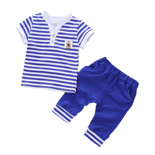 2018 Summer new fashion baby boys clothes set cotton material with striped print infant clothing set A002 - Joelinks store