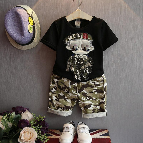 Summer Children Baby Boy Clothes Sets Kids 2pcs Short Sleeves T-Shirt Toddler Suits Camouflage Shorts Kids Clothing Tops + pants - Joelinks store