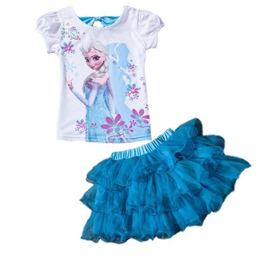 Children Snow Queen Clothes Sets for Girls Todler Summer Cartoon Baby Kids Flower Monna T Shirt Tutu Skirt Sport Clothing Sets - Joelinks store
