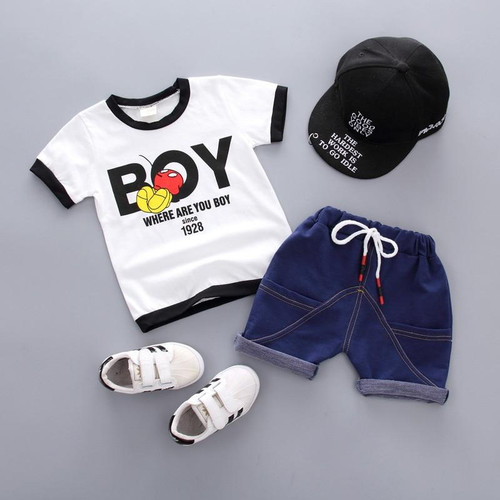Baby boys Summer Clothing Set Children Letter Tshirt+Short Pants 2pcs Boys tracksuit casual kids sport suits boys summer Clothes - Joelinks store