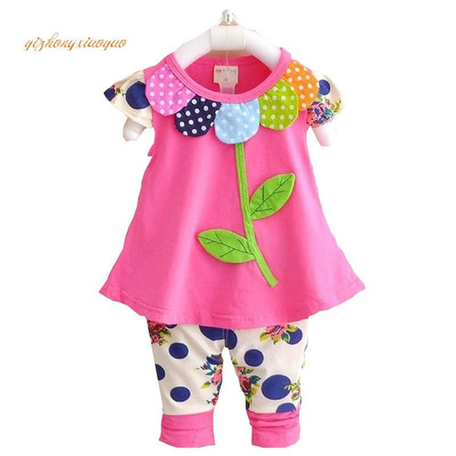 2019 Kids Baby Girl Clothing Set Bowknot Summer Floral T-shirts Tops and Pants Leggings 2pcs Cute Children Outfits Girls Set - Joelinks store