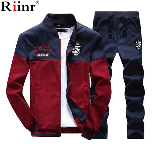 Riinr Brand New Men Sets Fashion Autumn Spring Sporting Suit Sweatshirt +Sweatpants Mens Clothing 2 Pieces Sets Slim Tracksuit - Joelinks store