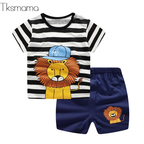 New Arrival Toddler Boy Kids Clothes Lion Print Short Sleeve T-shirt + Shorts 2 Piece Set Baby Boy Girl Cloths Outfit - Joelinks store