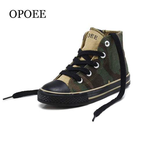 Children's shoes Boys and Girls high-top Canvas Shoes 2018 Spring and Autumn Camouflage Handsome Shoes - Joelinks store