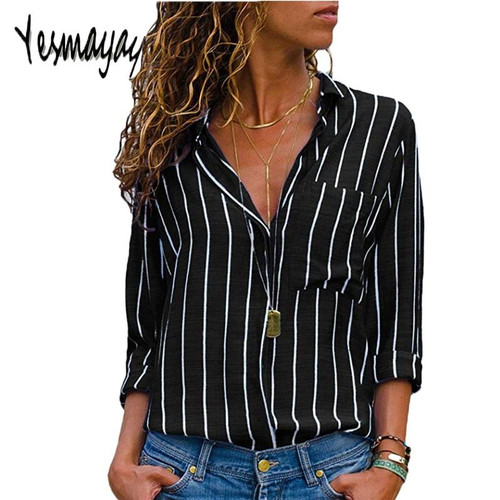 Black Red Striped Blouse Womens Tops And Blouses Long Sleeves Women Blusas Mujer De Moda  Autumn V Neck Blouse Shirt - Joelinks store