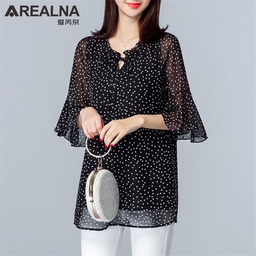 Vintage Plus Size 5XL Womens Tops and Blouses Summer Polka Dot Chiffon Ruffle Blouse Women Black Women's Long Shirt Blusas Mujer - Joelinks store