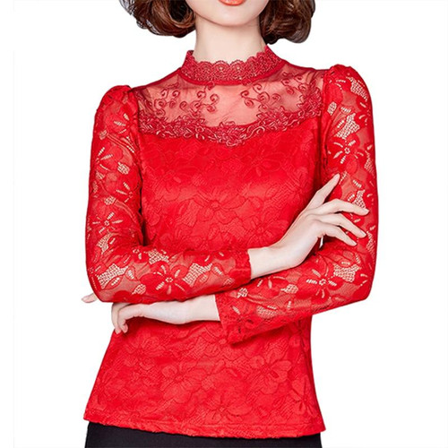 Women Blouse Shirts New Sexy Fashion Women Lace Long Sleeve Turtleneck Blouses Female Spring Pullover Blusas Tops Plus size 5XL - Joelinks store