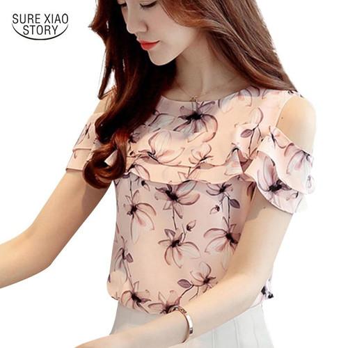 2019 Women Off Shoulder Short Sleeve Blouses Print Floral Chiffon Shirts Casual Ladies Clothing Female Blusas Women Tops 62G 30 - Joelinks store