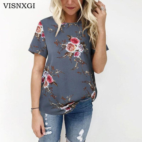 VISNXGI Summer Women Blouses Chiffon Print Blouse Short Sleeve Shirts Casual Ladies Clothing Female Blusas Floral Print Tops - Joelinks store